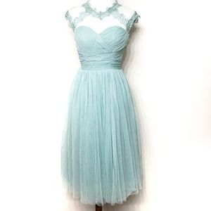 Modcloth Mint Green Lace Tulle Cocktail Dress